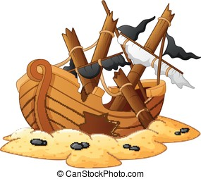 illustration of shipwreck - vector illustration of shipwreck