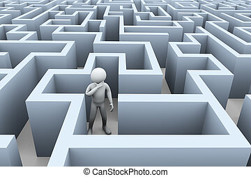 3d confused man in puzzle maze labyrinth