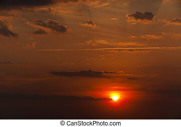 disk of the sun, sunset - photographed a bright disk of the...