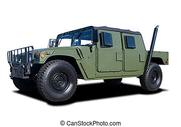 Military Vehicle - A Green Military Vehicle Isolated on...