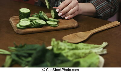 Close up of woman`s hands cutting cucumbers into rings at...