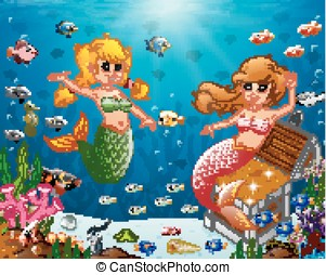 Illustration of a mermaid under sea - vector Illustration of...