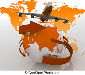 Jet airplane travels around world - 3d passenger jet...