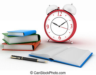 Alarm clock near stack of books on a white background. 3d...