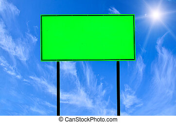 traffic road sign - Green traffic road sign on blue sky...