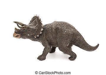lado, vista, gris, Triceratops, juguete, en, Un, blanco,...