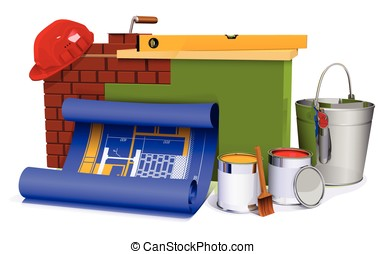 the part of the brick wall with tabletop, cans, bucket,...
