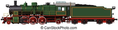 the old green steam locomotive with red wheels