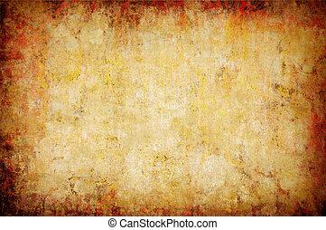 抽象的, グランジ, 黄色, 背景
