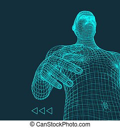 Man. 3D Model of Man. Human Body Model. Body Scanning. View...