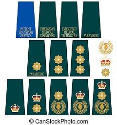 insignia, grande,  B, médico, servicio