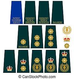 insignia, grande, médico, servicio, gran bretaña