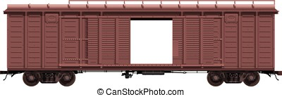 the brown freight-car with open doo