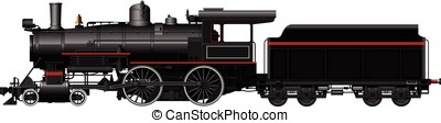 the old black steam locomotive on a white