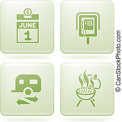 Olivine 2D Squared Set: Camping - icon, symbol, sign,...