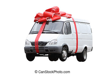 The car in a gift - The white van which has been tied up by...