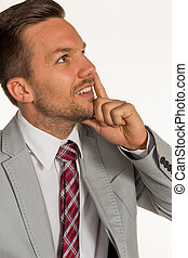 pensive manager - a manager is thinking about a problem