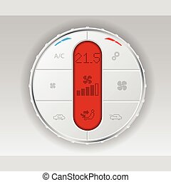 Digital air conditioning control panel in white