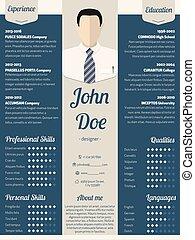 Modern resume cv template in blue - New modern resume cv...