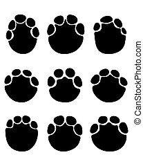 footprints of elephants - Black footprints of elephants on a...