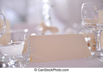 Place card on a wedding day