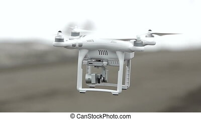 Flying drone above the road. Close up shot with blurred...