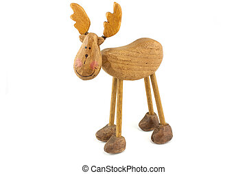 wooden toy reindeer islated on a white background