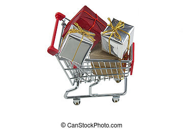 trolley full of presents - shopping trolley viewed from...