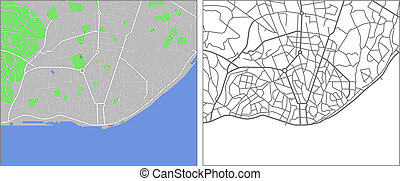 Lisbon - Illustration city map of Lisbon in vector.