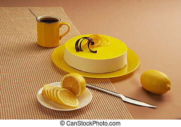 cake - lemon cake with souffle and jelly