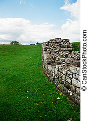 Hadrians Wall - A picturesque section of the Wall on a sunny...