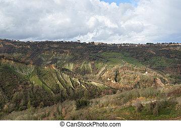 landscape around the Civita di bagnoregio - landscape of a...