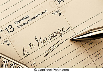 entry to the calendar: massage - an appointment is entered...