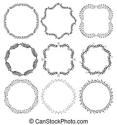Set decorative frames. - Set of hand drawn decorative...