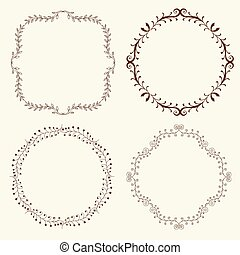 Set of 4 hand drawn frames - Set of hand drawn decorative...