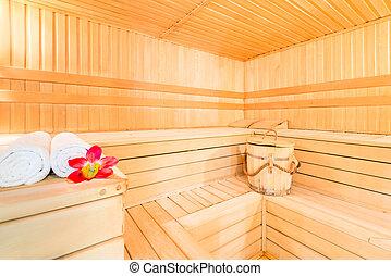 beautiful dry Finnish sauna for spa treatments