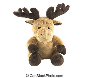 reindeer toy - cuddly soft reindeer isolated on white...