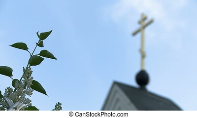 View of cross on church and lilac bush by fence, close-up