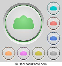 Cloud push buttons - Set of color cloud sunk push buttons