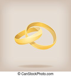 Pair of gold wedding rings. Vector illustration