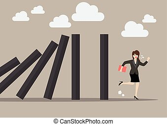 Business woman run away from domino effect. Business Concept