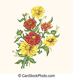bouquet wild flowers - drawing bouquet colored wild flowers...
