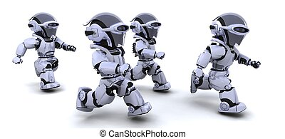 robots running - 3d Render of robots competing in a race