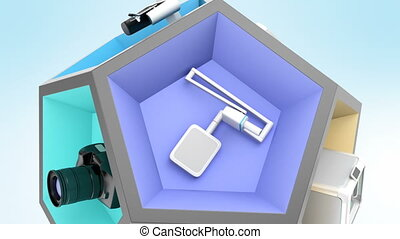 Dental equipment in pentagon cube Seamless loop in 4K...