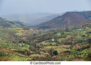 landscape around the Civita di bagnoregio - landscape of a...