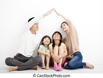 家族, モデル, 一緒に, 印, 家, 作成, 幸せ