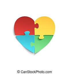 Jigsaw puzzle pieces in form of heart. - Jigsaw puzzle...