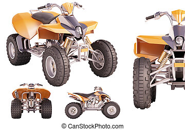 ATV Quad Bike - Set of ATV quad bike isolated on white...