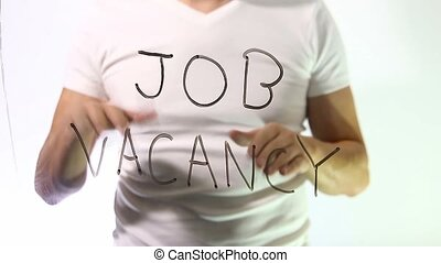 job vacancy inscription businessman man talks - job vacancy...