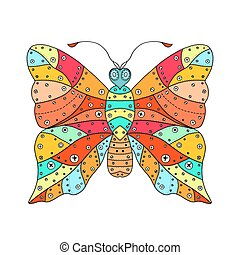 vector Tangle Patterns butterfly - Hand drawn bright vector...